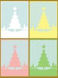 Reeks van 4 Kerstkaarten Royalty-vrije Stock Afbeeldingen