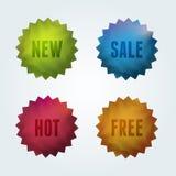 Reeks van 4 kwaliteits vectoretiketten. Royalty-vrije Stock Foto's