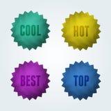 Reeks van 4 kwaliteits vectoretiketten. Royalty-vrije Stock Foto