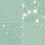 Reeks van 4 naadloze textuurpatronen Stock Afbeeldingen
