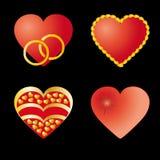 Reeks van 4 rode harten Royalty-vrije Stock Foto