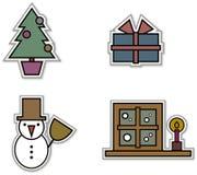 Reeks van 4 Stickers van Kerstmis Royalty-vrije Stock Foto