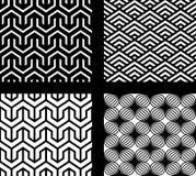 Reeks van 4 vector abstracte naadloze patronen Stock Foto