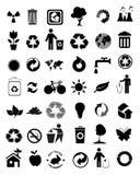 Reeks van 42 milieupictogrammen Stock Afbeeldingen