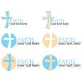 Reeks van 6 emblemen met dwars/godsdienstig thema Royalty-vrije Stock Afbeeldingen