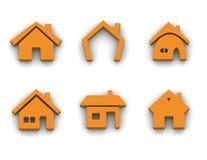 Reeks van 6 huispictogrammen Stock Foto's