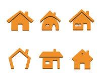 Reeks van 6 huispictogrammen Stock Afbeeldingen