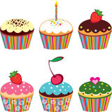 Reeks van 6 leuke cupcakes vector illustratie