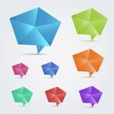Reeks van 8 kleurrijke bellen van de origamitoespraak. Stock Afbeelding