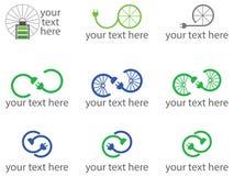 Reeks van 9 fiets verwante emblemen of symbolen Stock Afbeeldingen