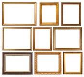 Reeks van 9 gouden frames royalty-vrije stock fotografie