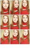 Reeks van 9 grappige gezichten Stock Fotografie