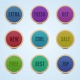 Reeks van 9 hoge gedetailleerde rond gemaakte stickers. Royalty-vrije Stock Foto