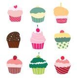 Reeks van 9 leuke cupcakes Royalty-vrije Stock Afbeeldingen