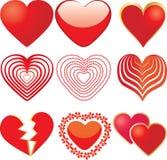 Reeks van 9 rode harten Stock Foto