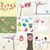 Reeks van 9 valentijnskaartenkaarten met leuke vogels Royalty-vrije Stock Afbeelding