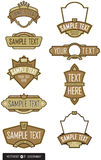 Reeks van 9 Vectoren van het Embleem/van het Etiket Royalty-vrije Stock Foto