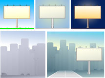 Reeks van aanplakborden en stedelijk silhouet Stock Afbeelding