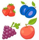 Reeks van Aardbei, Apple, Druif Fruit op achtergrond wordt geïsoleerd die Pictogrammenvruchten Royalty-vrije Stock Foto