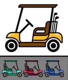 Reeks van aardige golfkar met clubs Stock Fotografie