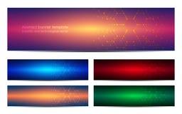 Reeks van abstract bannerontwerp, DNA-de achtergrond van de moleculestructuur Geometrische grafiek en verbonden lijnen met punten Royalty-vrije Stock Foto's