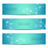 Reeks van abstract bannerontwerp, DNA-de achtergrond van de moleculestructuur Geometrische grafiek en verbonden lijnen met punten Stock Foto's