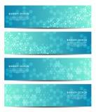 Reeks van abstract bannerontwerp, DNA-de achtergrond van de moleculestructuur Geometrische grafiek en verbonden lijnen met punten Royalty-vrije Stock Afbeeldingen