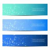 Reeks van abstract bannerontwerp, DNA-de achtergrond van de moleculestructuur Geometrische grafiek en verbonden lijnen met punten Royalty-vrije Stock Foto