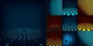 Reeks van abstract digitaal malplaatje als achtergrond die tien met gradiënt en cirkels wordt gemaakt omvat Stock Foto's