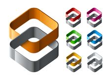 Reeks van abstract Emblemenontwerp stock illustratie