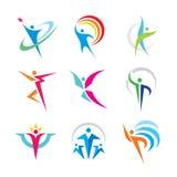 Reeks van abstract kleurrijk menselijk karakterembleem Het concepten vectorillustratie van inzamelingsmensen Sport, fitness, gelu royalty-vrije illustratie
