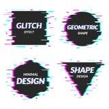 Reeks van abstract minimaal malplaatjeontwerp in geometrische glitch stijl In abstracte dekking Futuristische ontwerpaffiches Stock Foto