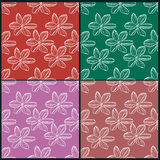 Reeks van abstract naadloos patroon met bloemen Royalty-vrije Stock Afbeeldingen