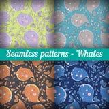 Reeks van abstract naadloos patroon met gekleurde walvissen Stock Foto