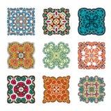 Reeks van abstract ontwerpelement Ronde mandalas in vector Grafisch malplaatje voor uw ontwerp Decoratief retro ornament Royalty-vrije Stock Foto