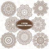 Reeks van abstract ontwerpelement Ronde mandalas in vector Graphi Royalty-vrije Stock Foto's