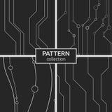 Reeks van abstract vector naadloos patroon vier met lijnen Stock Afbeeldingen