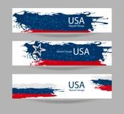 Reeks van abstracte banner met de vlag van de V.S. Stock Fotografie