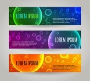 Reeks van 3 abstracte banners met veelvoudige bellen Royalty-vrije Stock Fotografie