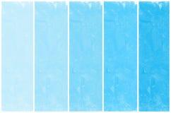 Reeks van abstracte blauwe geschilderde waterverfhand Stock Foto