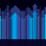 Reeks van abstracte blauwe pijlopeenvolging Stock Foto's