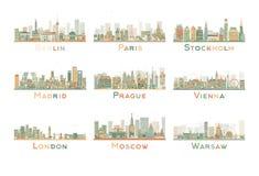 Reeks van 9 Abstracte Europa Stadshorizon Vector illustratie Stock Afbeeldingen