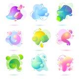 Reeks van abstracte, moderne, vloeibare, in gradiëntbanner Dynamische gekleurde vormen met lijnen, stromende vloeistofvormen en 3 vector illustratie
