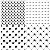 Reeks van 4 abstracte naadloos met sterren Vector Royalty-vrije Stock Afbeeldingen
