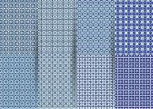 Reeks van 6 abstracte naadloze geruite geometrische patronen Vector blauwe geometrische ackground voor stoffen, drukken, de klere vector illustratie