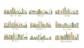 Reeks van 9 Abstracte Stadshorizon Vector illustratie Stock Afbeeldingen