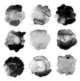 Reeks van abstracte waterverfvlek Stock Afbeeldingen