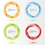 Reeks van abstracte wervelingscirkel op transparant stock illustratie