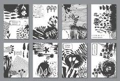 Reeks van acht kaarten met hand getrokken abstracte inkttextuur stock illustratie