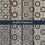 Reeks van acht naadloze vector Arabische geometrische patronen ontwerp voor verpakking, dekking, binnenland vector illustratie